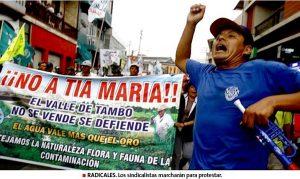 1 muerto 16 heridos por protestas en contra de Tía María