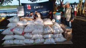 Familias afectadas por inundaciones en San Martín reciben ayuda de Cáritas Perú y OCHA
