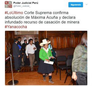 Corte Suprema da triunfo definitivo a Máxima Acuña en litigio contra Yanacocha