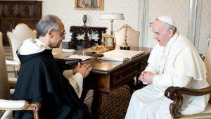 Maestro General de la orden Dominicana padre Bruno Cadoré junto al Papa Francisco en Puerto Maldonado