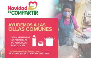 """Lanzan campaña """"Navidad es compartir"""" para ayudar a las ollas comunes más pobres de Lima"""